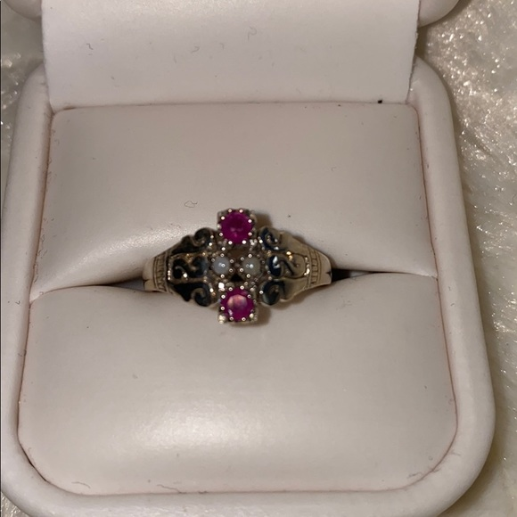 Sterling Silver Vintage style Ruby Ring